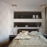 Пример красивого оформления ниши над кроватью