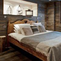 Подсветка ниш в спальне с отделкой из дерева