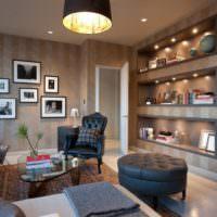 Красивые ниши в гостиной двухкомнатной квартиры