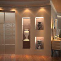 Античные вазы в нишах с дополнительным освещением