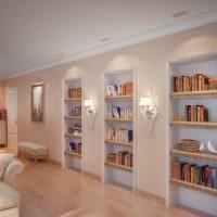 Домашняя библиотека в нишах на стене гостиной