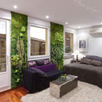 Живой мох в интерьере спального помещения