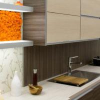 Оранжевый мох в интерьере кухни