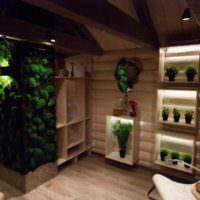 Живой мох в интерьере деревянного дома