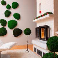 Яркий декор из живого мха для гостиной
