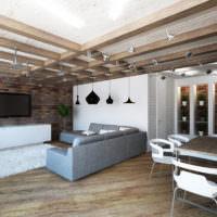 Деревянные балки в интерьере мужской гостиной