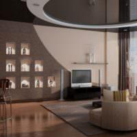 Зеркальный потолок в гостиной частного дома