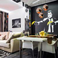 Фотообои с реалистичным рисунком в гостиной
