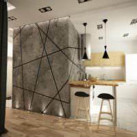 Серый бетон в дизайне кухни жилого дома
