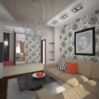 Черный орнамент на обоях в гостиной
