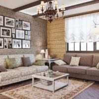Картины на обоях в гостиной деревенского стиля
