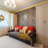 Оформление стены над диваном виниловыми обоями