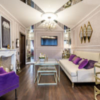 Гостиная в стиле модерн с обоями на стенах