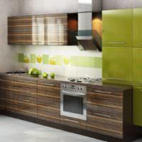 Комбинация коричневого и оливкового цветов на фасадах кухонного гарнитура