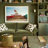 Преобладание оливкового цвета в интерьере комнаты