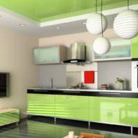 Глянцевые фасады кухонных шкафчиков оливкового оттенка