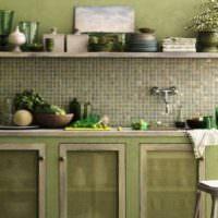 Кухня в ретро-стиле с оливковыми оттенками