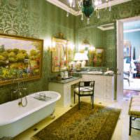 Ванная комната с преобладанием оливковых оттенков в интерьере