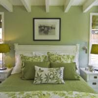 Текстиль и стены в оливковых тонах в дизайне спальной комнаты