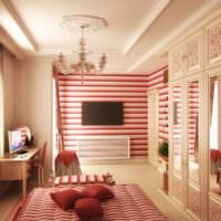 Полосы розовых оттенков в интерьере гостиной