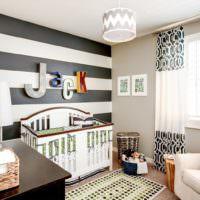 Детская комната с обоями в полоску