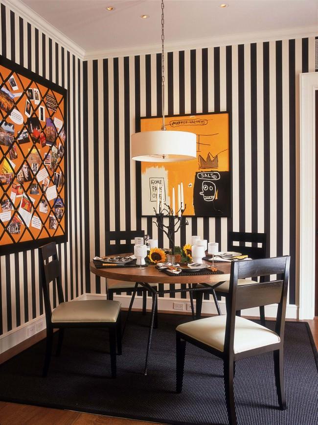 фото кухни с полосатым рисунком украшены