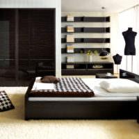 Прямые линии в интерьере спальни с темной мебелью