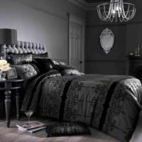 Черные и серые оттенки в спальне современной квартиры