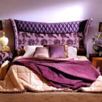 Оттенки сиреневого цвета в спальне частного дома