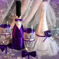 Декор бутылок для свадьбы в фиолетовом цвете