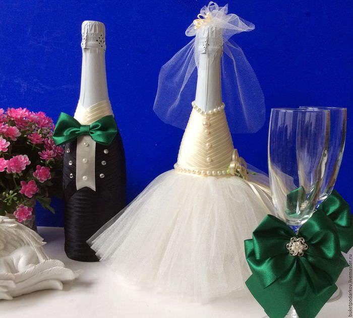 свадебные бутылки своими руками фото прекрасно подходит