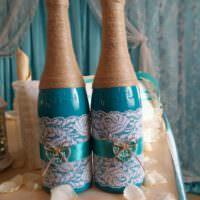 Декор шампанского на годовщину свадьбы