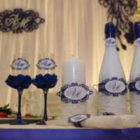 Оформление бутылок и фужеров для свадьбы