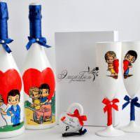 Детская тематика в оформлении свадебных бутылок