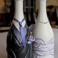 Оформление свадебных бутылок полимерной глиной