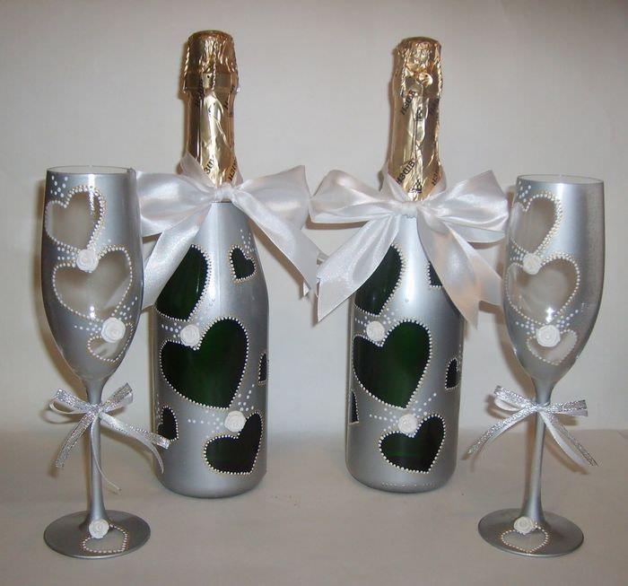украшение свадебных бокалов и бутылок фото детей все таблицы