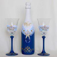 Стильная роспись свадебного шампанского