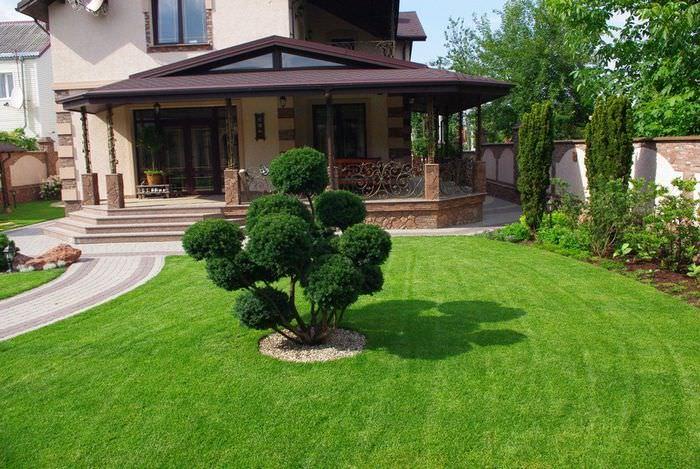 Небольшой газон перед открытой террасой жилого дома