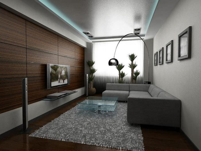 Оформление интерьера гостиной в стиле хай-тек