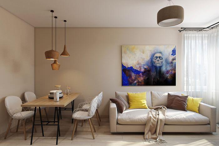Обеденная зона и диван в интерьере однокомнатной квартиры 37 квадратов