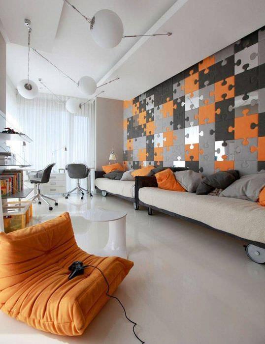 Дизайн современной гостиной в стиле фьюжн