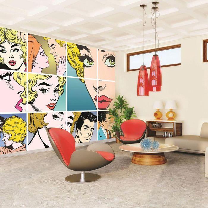 Дизайн гостиной комнаты в стиле поп-арт
