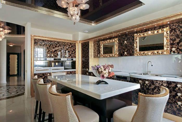 Использование лепных украшений в дизайне кухни в стиле арт деко