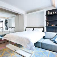 Откидная кровать в интерьере спальни
