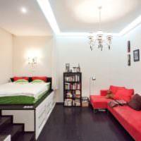 Кровать-подиум в зонировании спальни