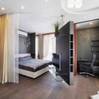 Поворотная перегородка в зонировании спальни