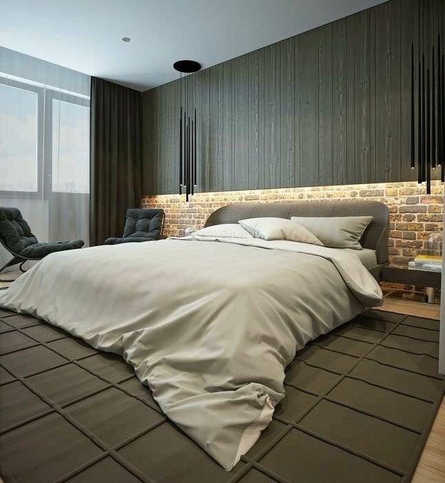 Состаренный кирпич в интерьере спальни в стиле минимализма