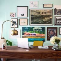 Картины на стене мятного цаета