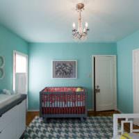 Окраска стен в мятном цвете в детской комнате для малыша