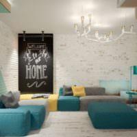 Сочетание мятного цвета с другими оттенками в интерьере гостиной